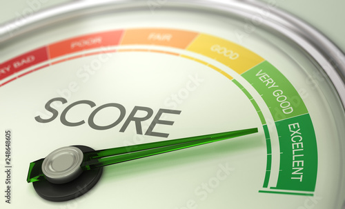 Business Credit Score Gauge Concept, Excellent Grade. #248648605