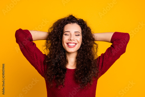 Close up photo amazing charming her she lady napping eyes closed finally vacation weekend wearing red knitted sweater clothes outfit isolated yellow bright background #248650466