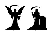 Black Silhouette Of Death With Scythe. Statue Of Dark Angel On Gothic Cemetery. Halloween Symbol. Isolated Image Of Hell Reaper. Tombstone Of Catholic Graveyard