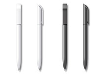 White And Black Realistic Set Pen. Vector Illustration. Template For Mockup Branding Stationery And Corporate Identity.