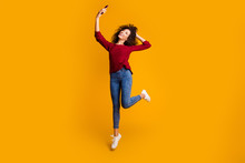 Full Length Body Size View Of Her She Nice Cute Lovely Attractive Cheerful Slim Thin Fit Wavy-haired Lady Taking Making Selfie Having Fun Isolated On Bright Vivid Shine Orange Background