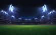canvas print picture - universal grass stadium illuminated by spotlights and empty green grass playground, grand sport building digital 3D background advertisement background illustration