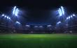 Leinwanddruck Bild - universal grass stadium illuminated by spotlights and empty green grass playground, grand sport building digital 3D background advertisement background illustration