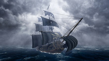 Pirate Ship On Stormy Sea
