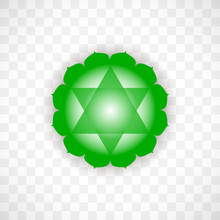 Heart Chakra Anahata In Green Color Isolated On Transparent Background. Isoteric Flat Icon. Geometric Pattern.