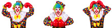 Funny Male Clown With Boxing G...