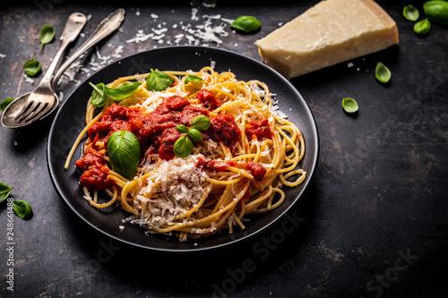 delicious appetizing classic spaghetti pasta with tomato sauce, parmesan Canvas Print