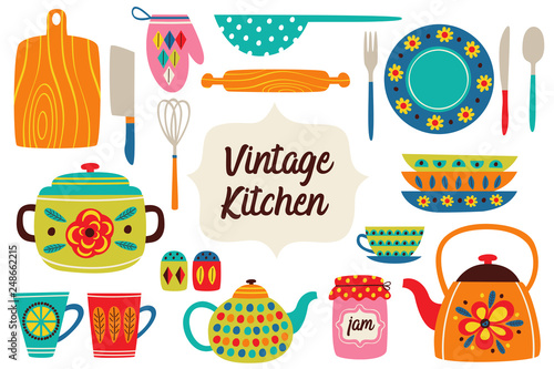 set of isolated vintage kitchen utensils part 1 - vector illustration, eps Canvas