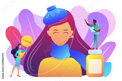 Foto  Sick woman with flu and cold symptoms and doctors, tiny people