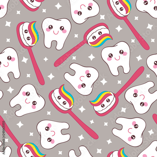 Montage in der Fensternische Künstlich gray seamless pattern with tooth and toothpaste - vector illustration, eps