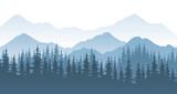 Fototapeta Natura - Mountain forest, vector landscape illustration