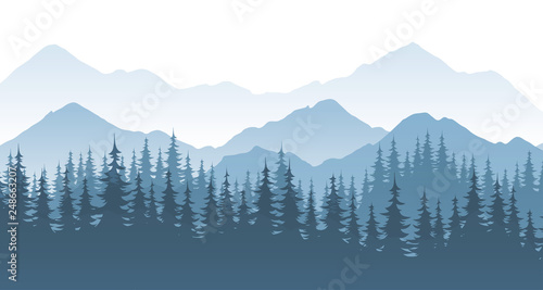 Foto Mountain forest, vector landscape illustration