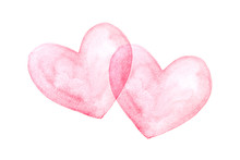 Red Heart Is Placed On A White Background, Watercolor.