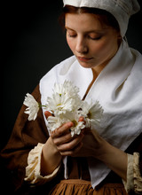 Medieval Maid Holding Flowers
