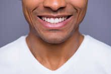 Close-up Cropped Portrait Of His He Nice Handsome Attractive Well-groomed Cheerful Cheery Guy Wearing White Shirt Beaming Teeth Isolated Over Gray Violet Purple Pastel Background