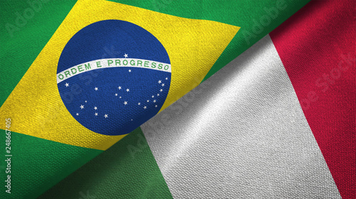 Photo sur Aluminium Brésil Italy and Brazil two flags textile cloth fabric texture