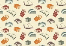 Seamless Pattern With Open And Closed Books. Vector Background