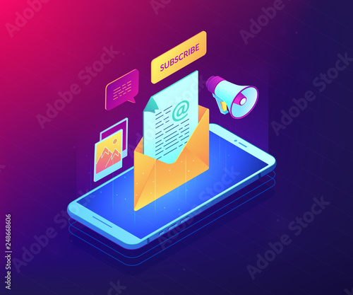 Mobile phone with megaphone and new subscription email received. Email marketing, email newsletter service, new personal message concept. Ultraviolet neon vector isometric 3D illustration.