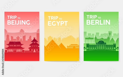 Travel information cards  Landscape template of flyear