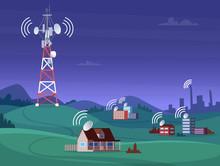 Landscape Wireless Tower. Sate...