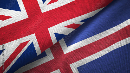 Photo  United Kingdom and Iceland two flags textile cloth, fabric texture