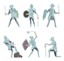 Cartoon Knights. Medieval Warr...