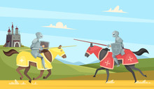 Knights Tournament. Medieval Chivalry Prince In Brutal Armour Helmet Warriors On Horse Vector Cartoon Background. Chivalry Warrior On Horse, Tournament Medieval Illustration