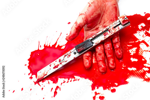 Fotografie, Obraz  .Cutter knife bloody in hand lady on white background, Social violence Halloween