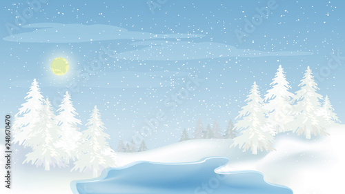 Foto auf Gartenposter Himmelblau Beautiful panorama winter landscape with snow on the trees in the mountains, vector