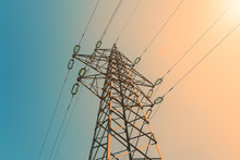 Electric Power Pylon And Overhead Lines Tower Used Transmit Electrical Energy