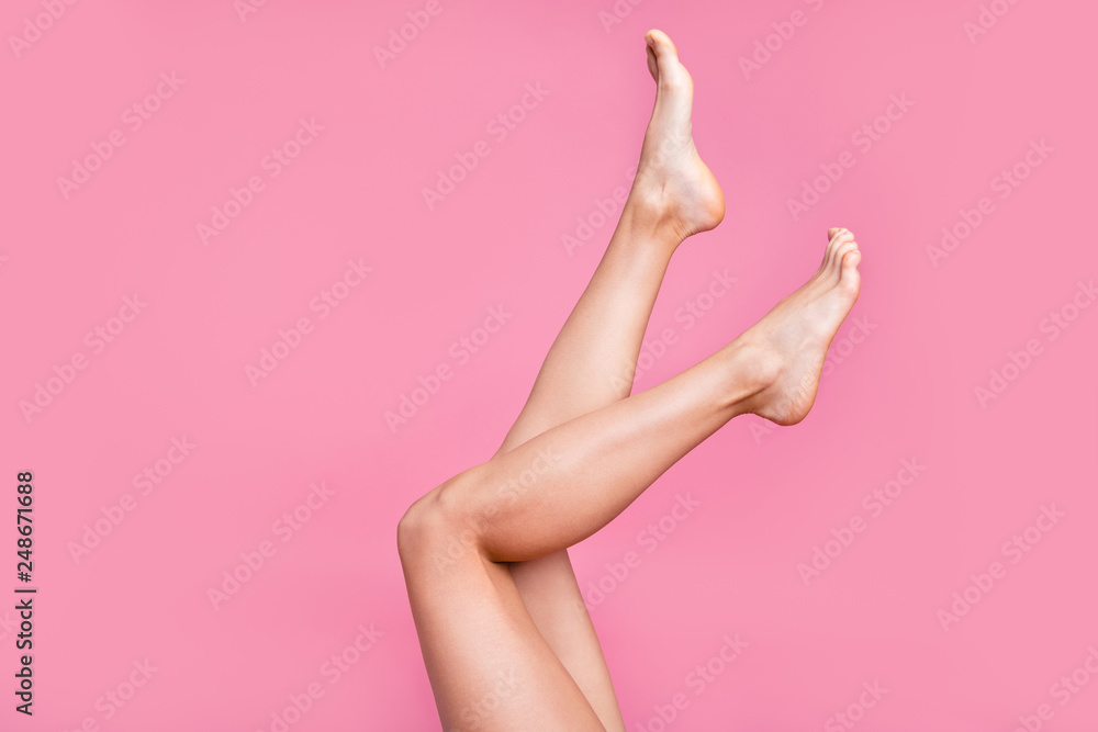 Fototapety, obrazy: Cropped image view photo of nice long adorable attractive fit thin slim soft smooth shine clear clean shaven legs ad advert active walk life isolated over pink pastel background