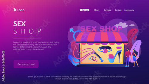 Fotografie, Obraz  Couple shopping in adult shop with sexual entrtainment toys and accessories