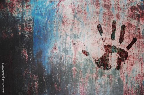 Fényképezés  hand print on wall background