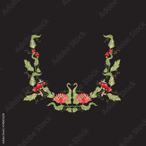 Fényképezés Floral decorative elements in jacobean embroidery style
