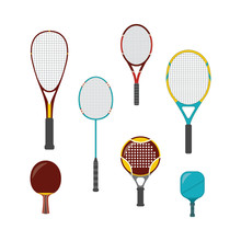 Set Of Sport Game Equipment - Rackets For Badminton, Table And Big, Beach And Platform Tennis