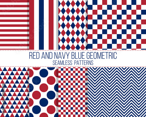 Photo  red and navy blue geometric seamless pattern set