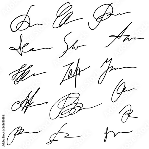 Hand drawn abstract signature set, business sign Fotobehang