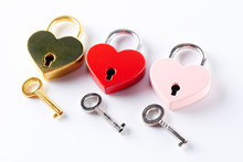 Three Locks In The Shape Of A Heart. Love Concept Valentine's Day