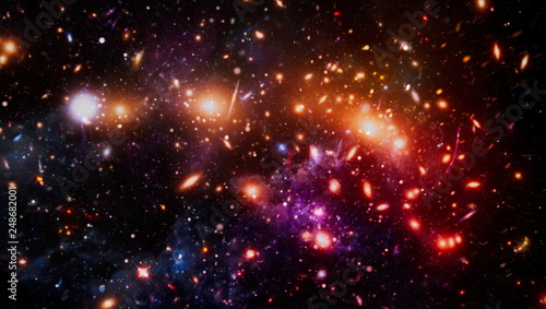 Nebula night starry sky in rainbow colors Tableau sur Toile