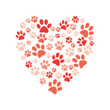 Vector Heart Made Of Animal Paw Footprint Icon