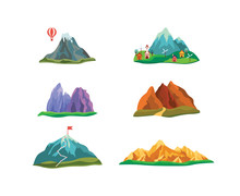 Set Of Cartoon Hills And Mountains With Peaks.