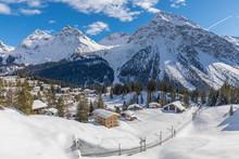 Beautiful Winter Landscape With Rhaetian Railway Around Village Arosa Switzerland