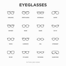 Eyeglasses Thin Line Icons Set: Sunglasses, Sport Glasses, Rectangular, Aviator, Wayfarer, Round, Square, Cat Eye, Oval, Extravagant, Big Size, For Reading. Modern Vector Illustration.