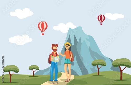 Fototapeta Vector man and woman tourists near mountain obraz