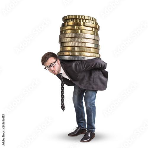 Geschäftsmann trägt einen riesigen Stapel Münzen auf dem Rücken Canvas Print