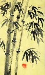Panel Szklany Bambus harmonious bamboo trees