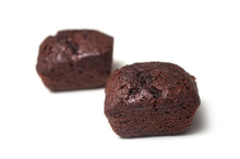 Closeup Of Mini Brownies On White Background