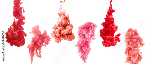 Garden Poster Smoke set of colorful ink isolated on white background. red, pink, coral drop swirling under water. Cloud of ink in water.