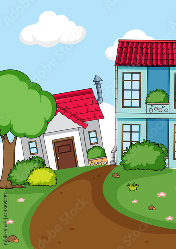Simple rural house background