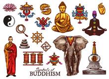 Buddhism Religion, Meditation Sketch Symbols